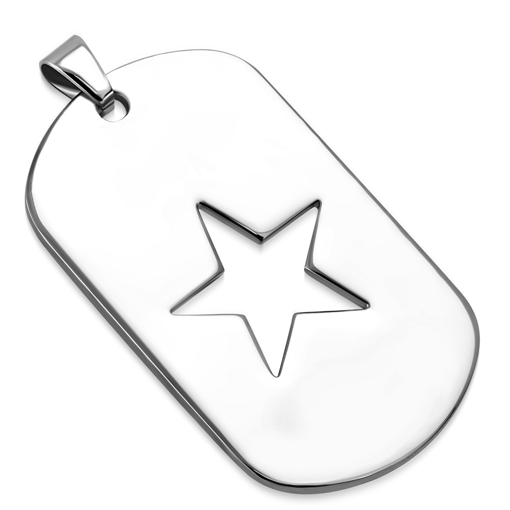 Ocelový přívěšek - destička s hvězdou