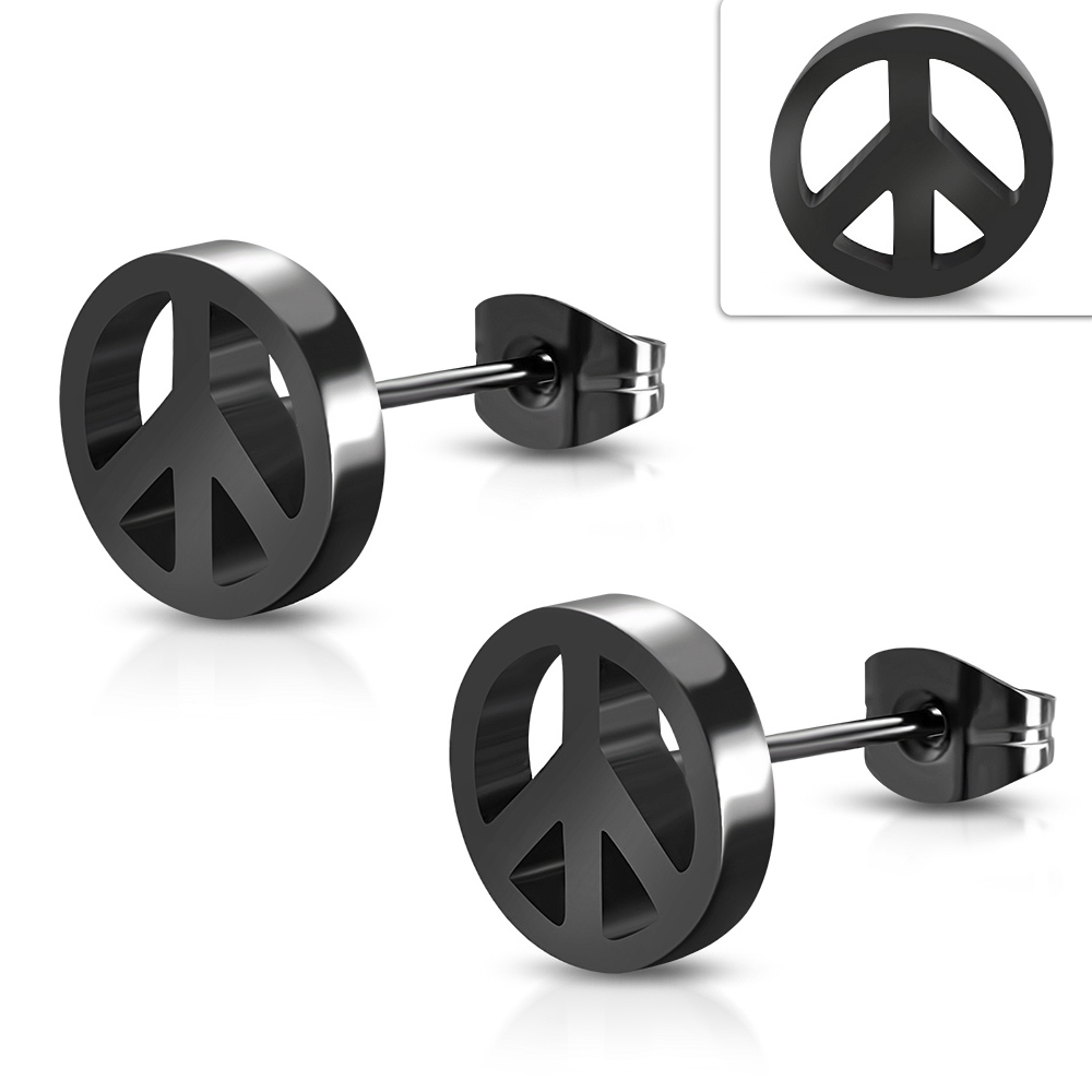 Čierne oceľové náušnice peace