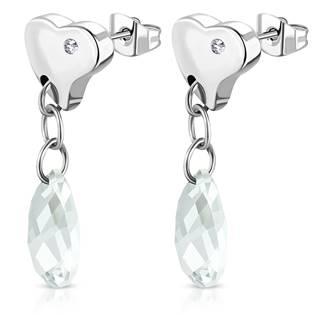 Šperky4U Visací ocelové náušnice kapky, CRYSTAL - OPN1356-C
