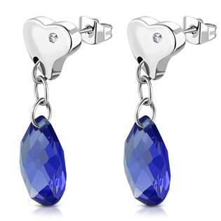 Šperky4U Visací ocelové náušnice kapky, BLUE - OPN1356-BL