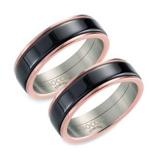 Zlacený titanový prsten BOCCIA® s černou keramikou B0132-04