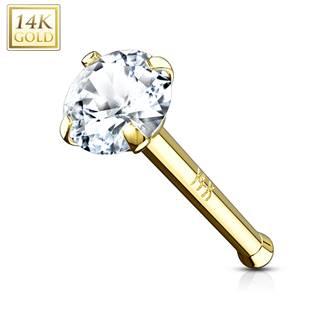 Zlatý piercing do nosu - čirý zirkon, Au 585/1000