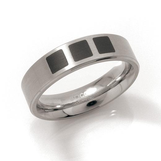 Titánový prsteň s čiernym smaltom BOCCIA® 0101-15