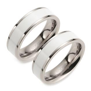 Titanové snubní prsteny BOCCIA® s bílým smaltem - pár