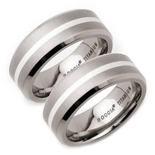 Titanové snubní prsteny se stříbrem BOCCIA® - pár