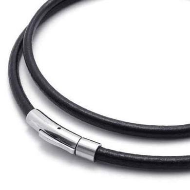 Kožený náhrdelník - oceľový uzáver, hr. 4 mm