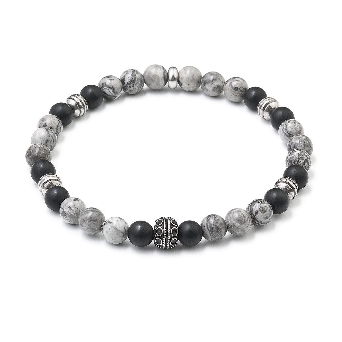 Gorálkový náramok šedý jaspis-čierny matný achát
