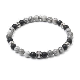 Korálkový náramek šedý jaspis-černý matný achát
