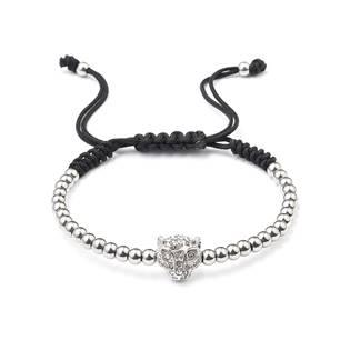 Korálkový náramek s krystaly stříbrný leopard