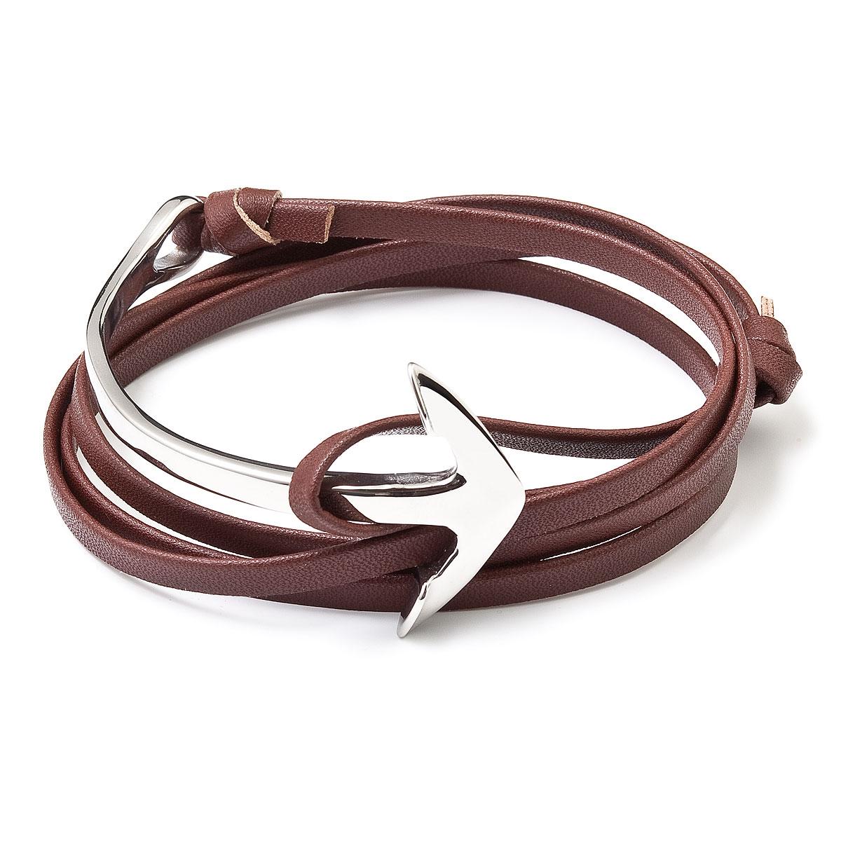 Hnedý kožený náramok so striebornou kotvou