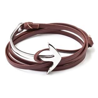 Hnědý kožený náramek s ocelovovu kotvou
