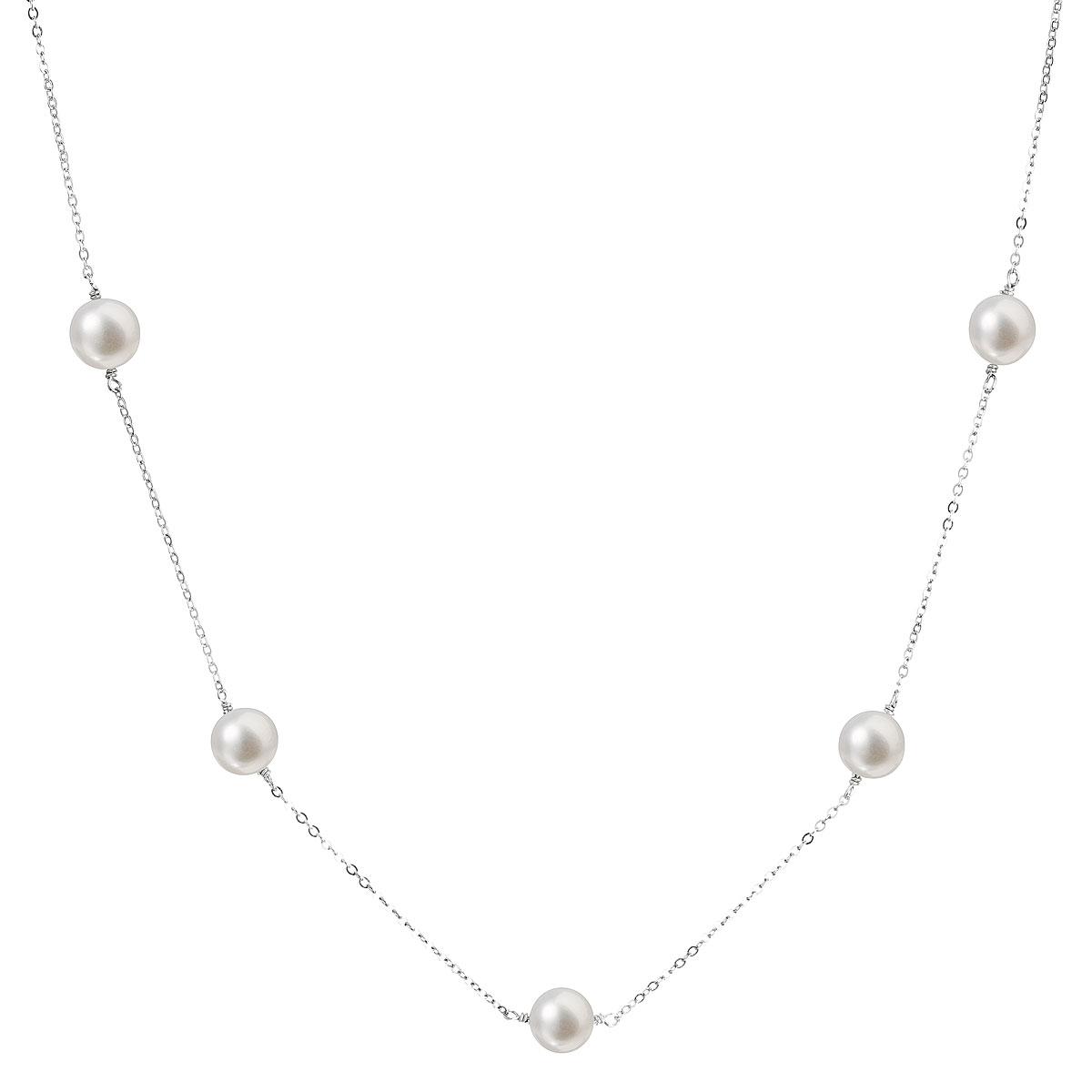 Perlový náhrdelník z pravých říčních perel bílý EG4222