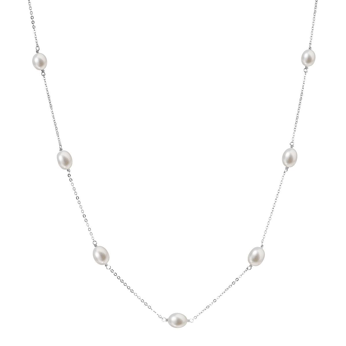 Perlový náhrdelník z pravých říčních perel bílý EG4221