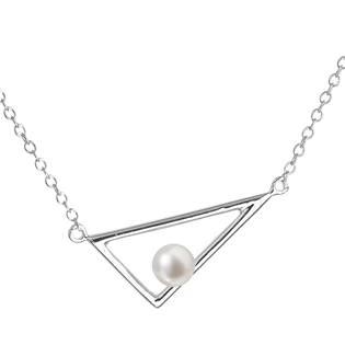 Perlový náhrdelník trojúhelník se říční perlou