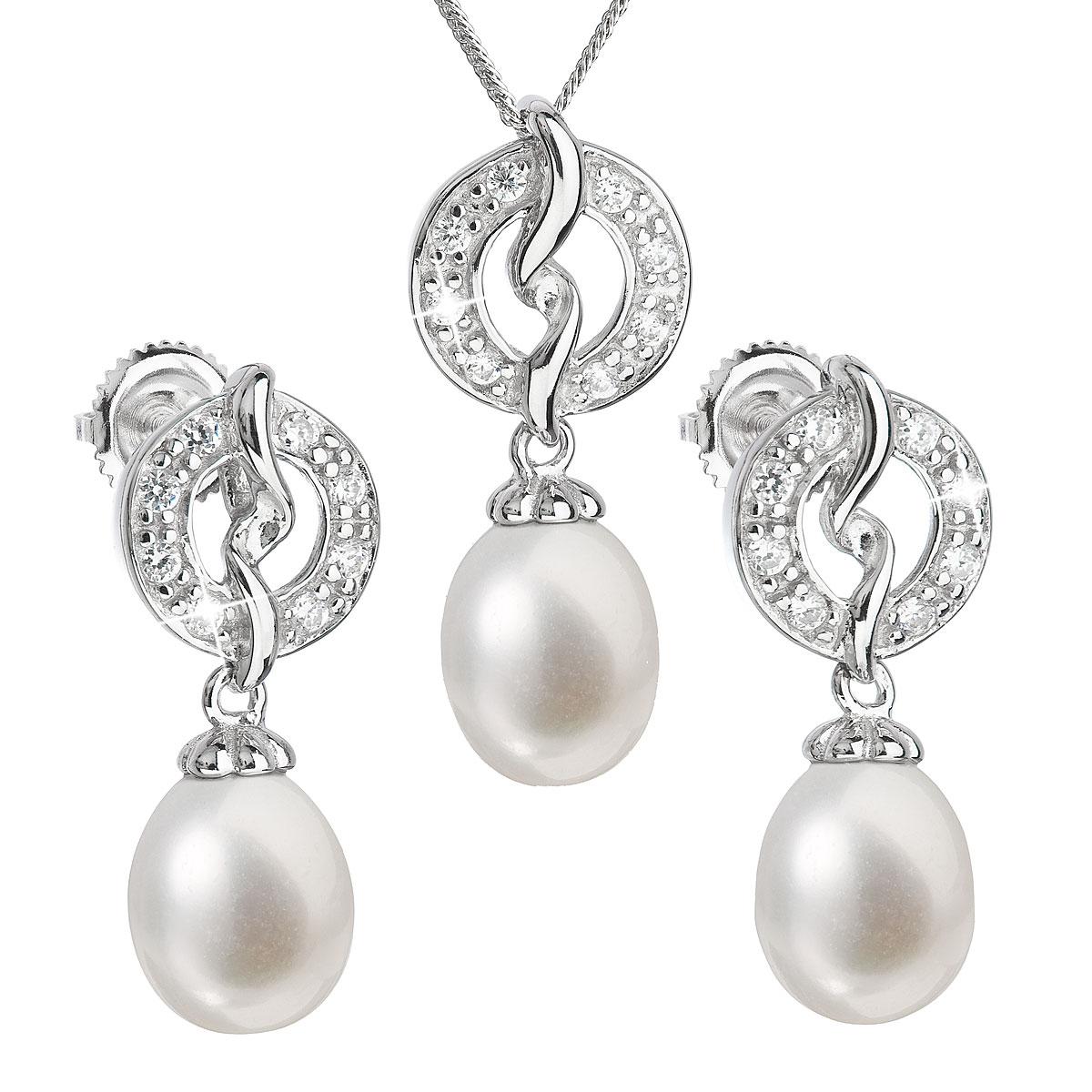 Perlová súprava z riečnych perál biela