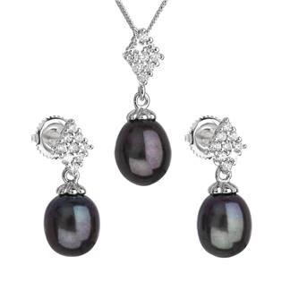 Stříbrná perlová souprava z říčními perlami tahiti