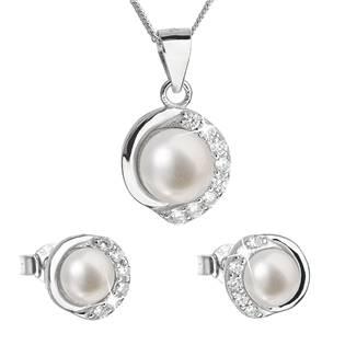 Perlová souprava z říčních perel bílá