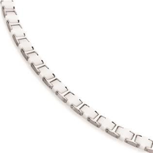 Titanový náhrdelník s bílou keramikou 0867-01