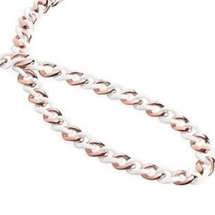 Titanový náhrdelník zlacený s bílou keramikou 0870-03