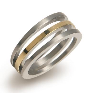 BOCCIA® titánový pozlátený prsteň 0128-02