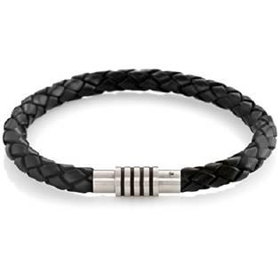 Černý splétaný kožený náramek 0347-0821