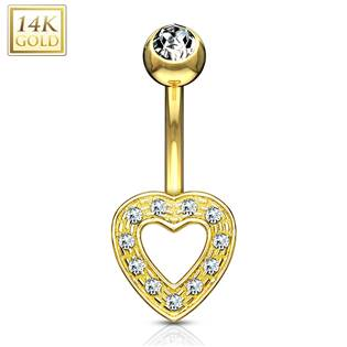 Zlatý piercing do pupíku - srdíčko Au 585/1000