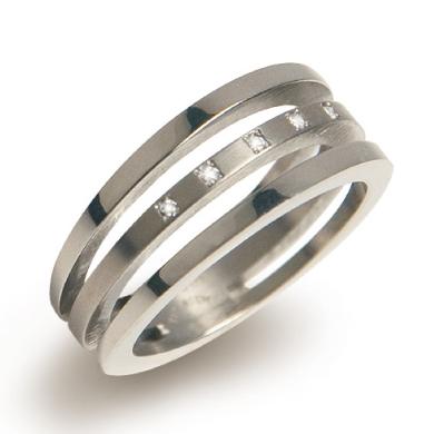 BOCCIA® titánový prsteň s diamantmi 0128-03