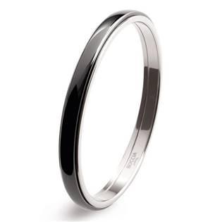 BOCCIA® Titanový náramek kruh s černou keramikou 0390-0267