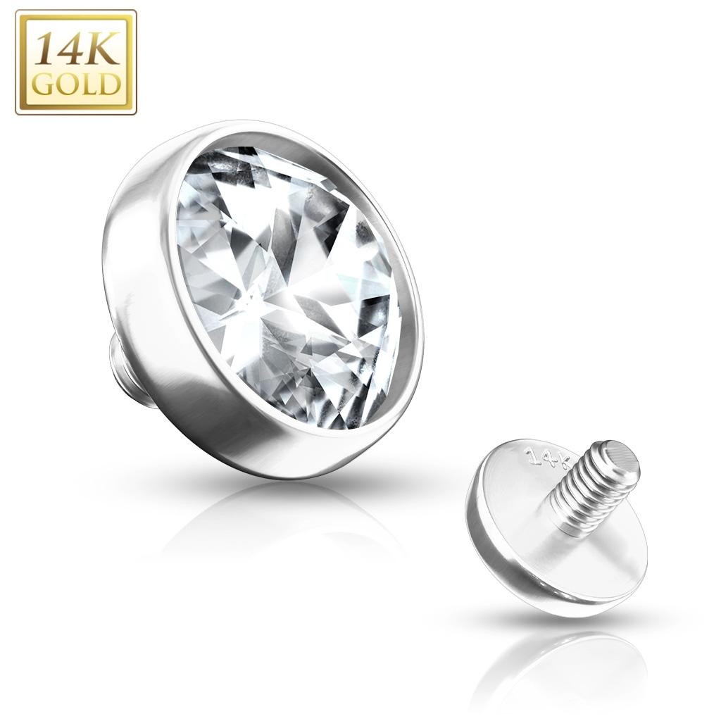 Zlatý piercing - dermál zirkon, Au 585/1000 ZL01038-04-WG