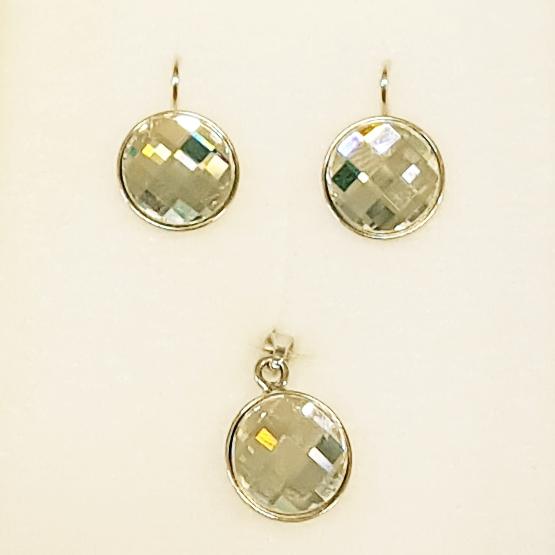 Stříbrný set Crystals from Swarovski, náušnice + přívěšek