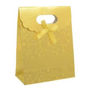 Šperky4U Dárková taška s mašlí zlatá - KR1011-GD