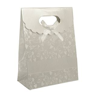 Dárková taška s mašlí stříbrná