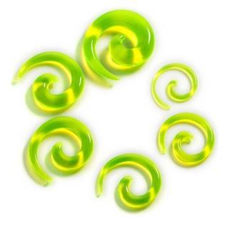Roztahovák do ucha - spirála průhledná zelená