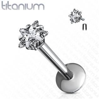 Piercing do brady - labreta titan hvězda, 1,2 x 8 mm