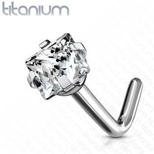 Zahnutý piercing do nosu - titan, čirý kamínek