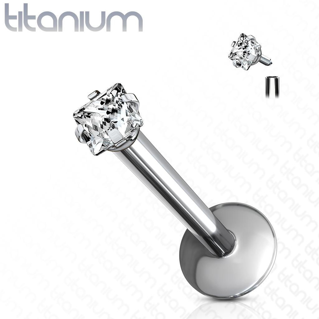 Piercing do brady - Labreta titán štvorec, 1,2 x 8 mm