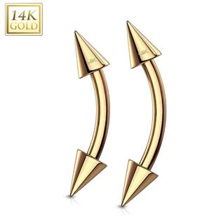 Zlatý piercing do obočí - kónus, Au 585/1000