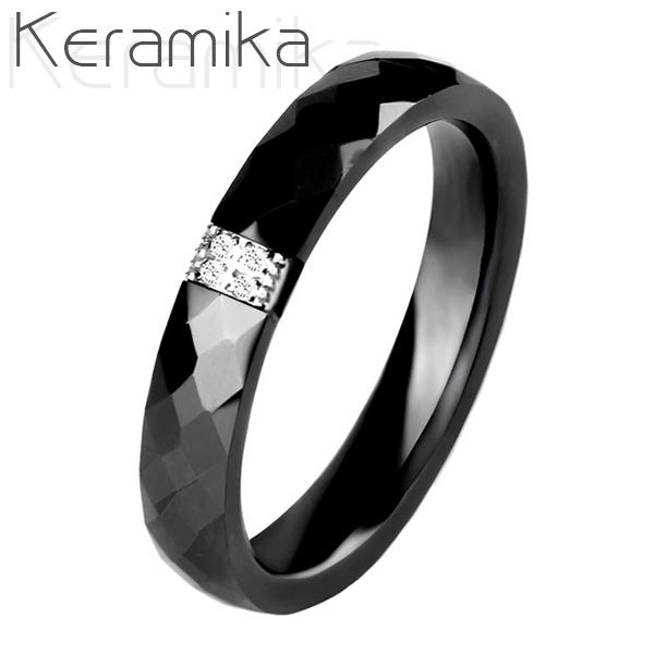 Keramický prsten černý, šíře 3 mm