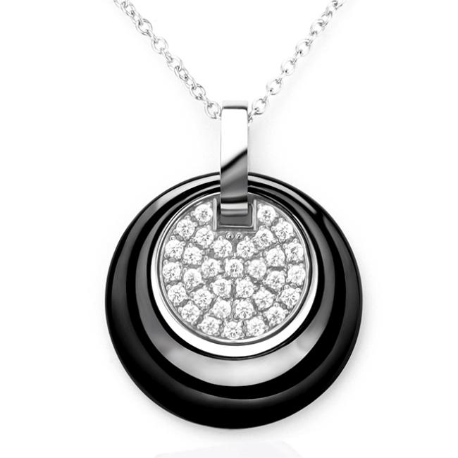 Černý keramický náhrdelník se zirkony