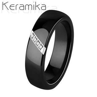 Keramický prsten černý šíře 6 mm KM1007-6