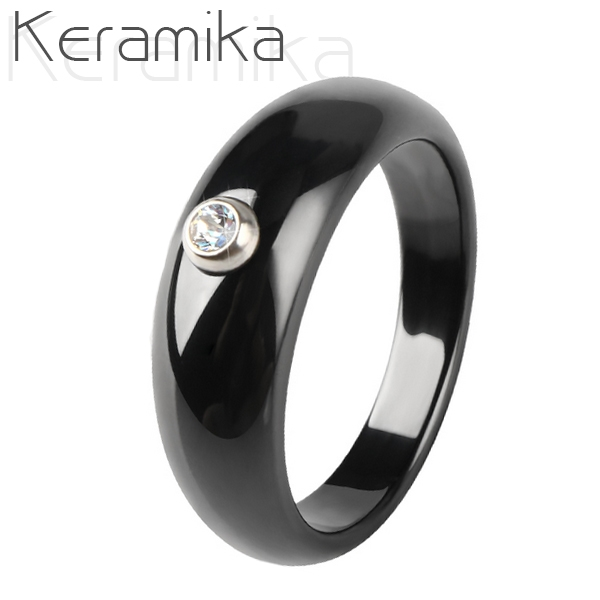 Keramický prsten černý, šíře 7 mm