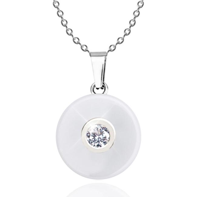 Bílý keramický náhrdelník se zirkonem