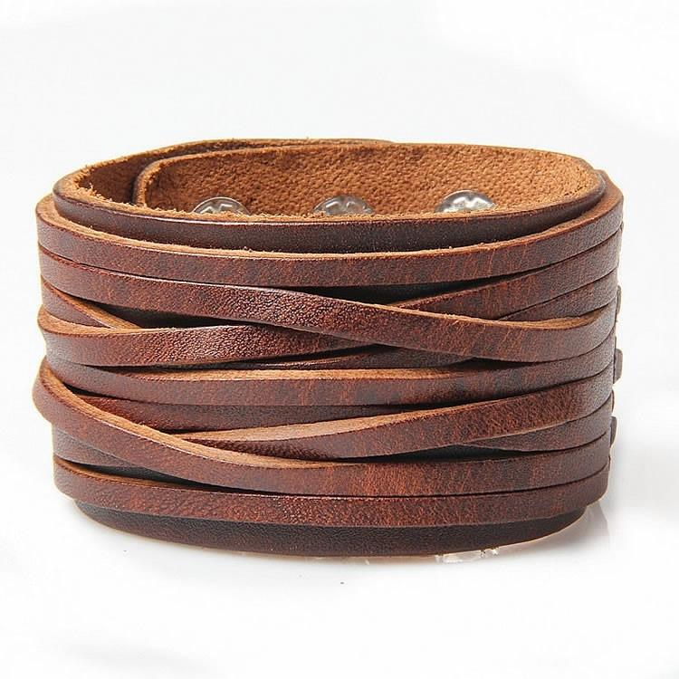 Široký hnedý kožený náramok