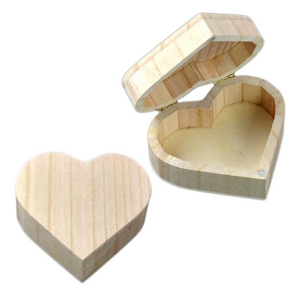 Dřevěná krabička srdce velké, 12 x 10 cm