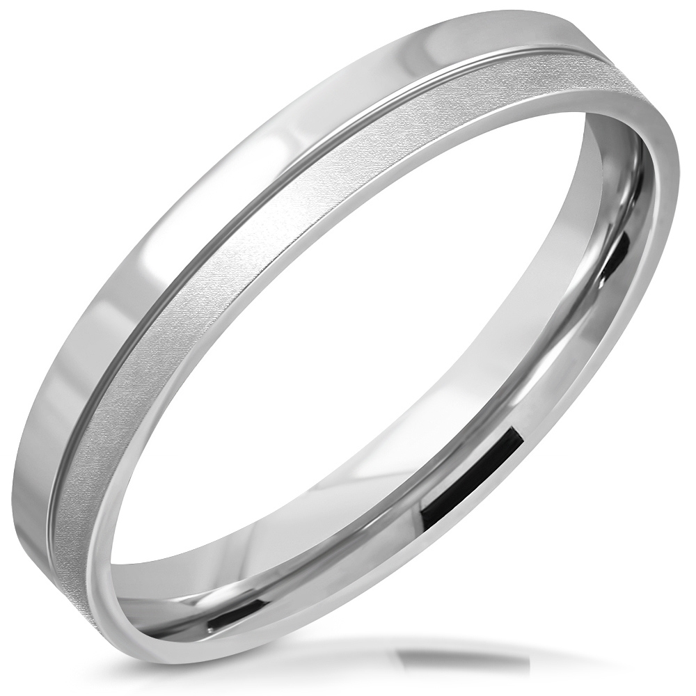 Dámsky oceľový snubný prsteň, šírka 3,5 mm