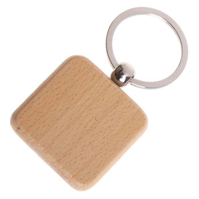 Drevený prívesok na kľúče - štvorec zaoblený