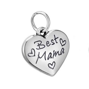 """Drobný oceľový prívesok - srdiečko """"Best Mama"""""""