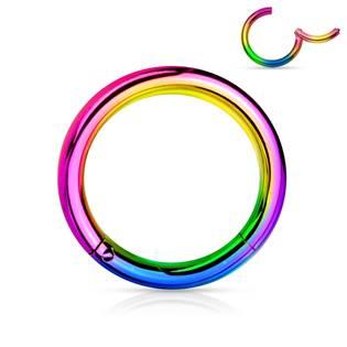 Piercing segment kruh - duhový, 1,0 x 8 mm