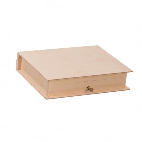 Drevená krabička kniha na kľúčik