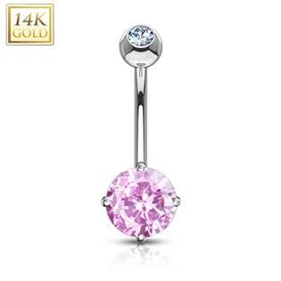 Zlatý piercing do pupíku - růžové zirkony, Au 585/1000